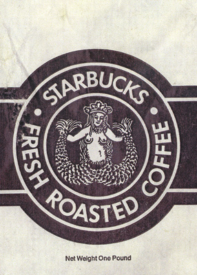 original Starbucks cigar-band logo, with the mermaid's breasts uncovered by her hair
